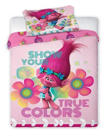 Duvet cover Trolls Poppy 'Show Your True Colors' Reversible Panel Single Bed Duvet Quilt Cover Set